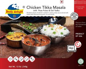 Daily Delight Chicken Tikka Masala with Peas Pulao and Dal Tadka