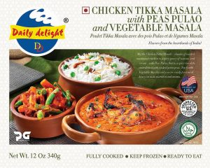 Daily Delight Chicken Tikka Masala with Peas Pulao and Vegetable Masala