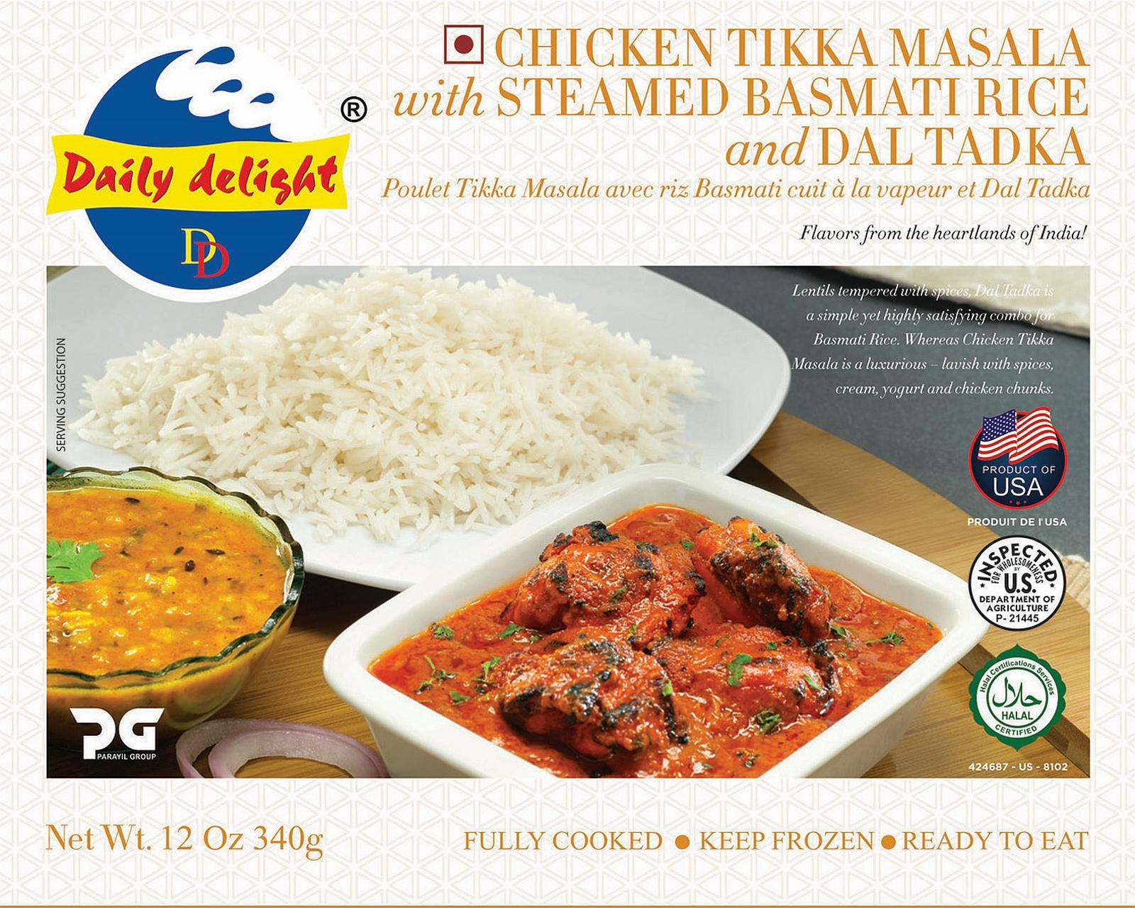 Daily Delight Chicken Tikka Masala with Steamed Basmati Rice and Dal Tadka