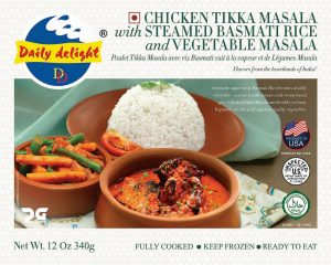Daily Delight Chicken Tikka Masala with Steamed Basmati Rice and Vegetable Masala