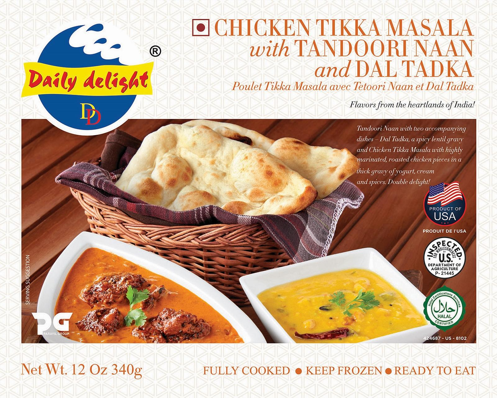 Daily Delight Chicken Tikka Masala with Tandoori Naan and Dal Tadka