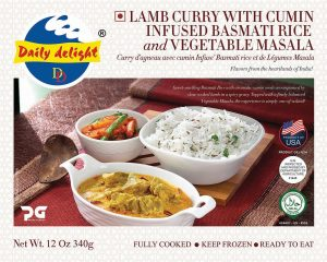 Daily Delight Lamb Curry with Cumin Infused Basmati Rice and Vegetable Masala