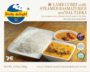 Daily Delight Lamb Curry with Steamed Basmati Rice and Dal Tadka