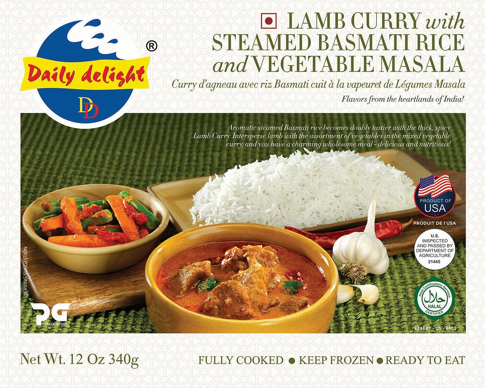 Daily Delight Lamb Curry with Steamed Basmati Rice and Vegetable Masala