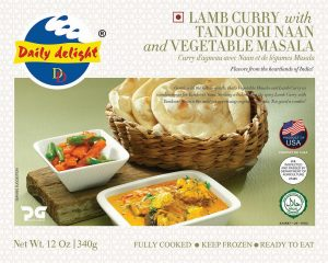 Daily Delight Lamb Curry with Tandoori Naan and Vegetable Masala