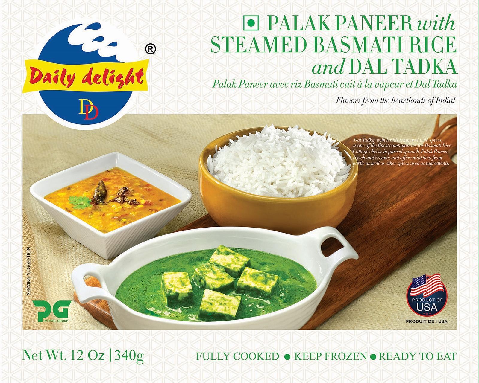 Daily Delight Palak Paneer with Steamed Basmati Rice and Dal Tadka