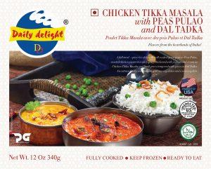 Daily Delight Chicken Tikka Masala with Peas Pulao and Dal Tadka